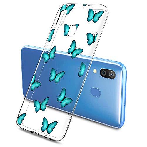 Oihxse Funda Conpatible con Samsung Galaxy J7 Prime 2017 Silicona Transparente Dibujos Mariposa Cover Suave TPU Gel Cristal Clear Delgada Anti- Arañazos Protección Carcasa Case,Azul 1