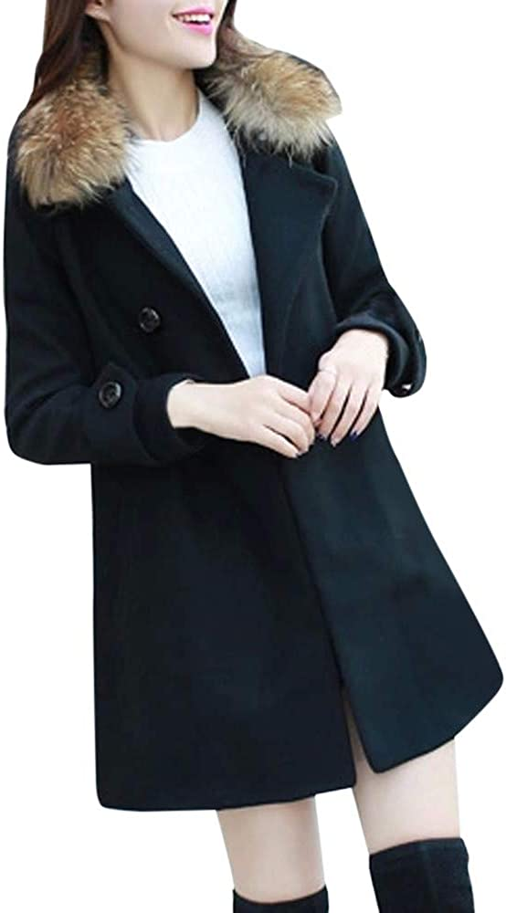 DIOMOR Casual Classic Double Breasted Mid Length Trench Coat with Fur Collar for Women Fashion Plain Color Overcoat