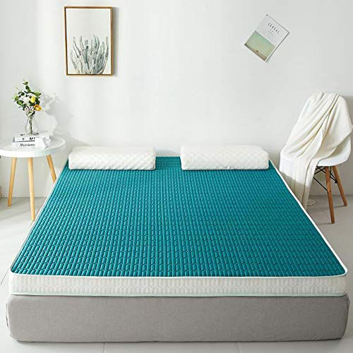 KKCD 6cm Thick Latex Foam Mattress Breathable Silky Cotton Tencel Cover Stays Cool Contains Latex And High Density Memory Foam Foldable Tencel Mattress Pad,Dark green,120x190cm