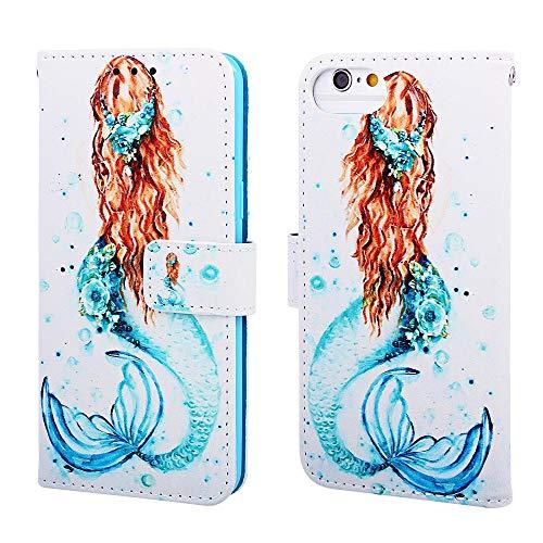 Nadoli Leder Hülle für iPhone SE 2020,Bunt Meerjungfrau Malerei Ultra Dünne Magnetverschluss Standfunktion Handyhülle Tasche Brieftasche Etui Schutzhülle