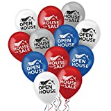Nashco 96 Count Open House Balloon Kit - Large 12' Heavy Duty Biodegradable Latex Balloons - Double Sided Realtor Open House/House for Sale Balloons in Red, White, Blue, and Silver