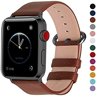 Fullmosa Compatible Apple Watch Band 38mm 40mm 42mm 44mm Calf Leather Compatible iWatch Band/Strap Compatible Apple Watch Series 5/4/3/2/1,38mm 40mm Brown + Smoky Grey Buckle