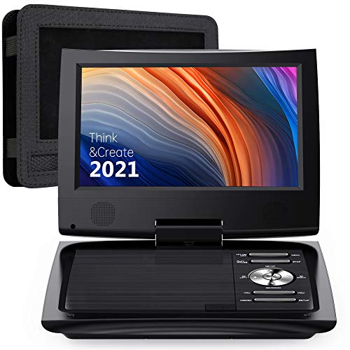 """SUNPIN 11"""" Portable DVD Player for Car and Kids with 9.5 inch HD Swivel Screen, 5 Hour Rechargeable Battery, Dual Earphone Jack, Supports SD Card/USB/CD/DVD, with Extra Headrest Mount Case (Black)"""