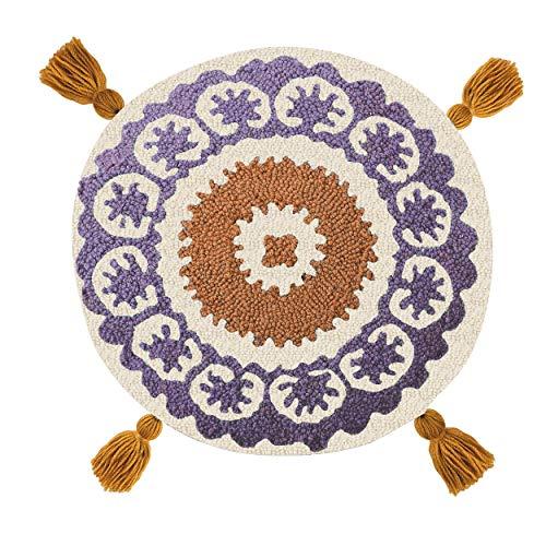 Find Bargain Peking Handicraft 30JBL35C16RD Flor with Tassels Hook Pillow, 100% Wool and Cotton