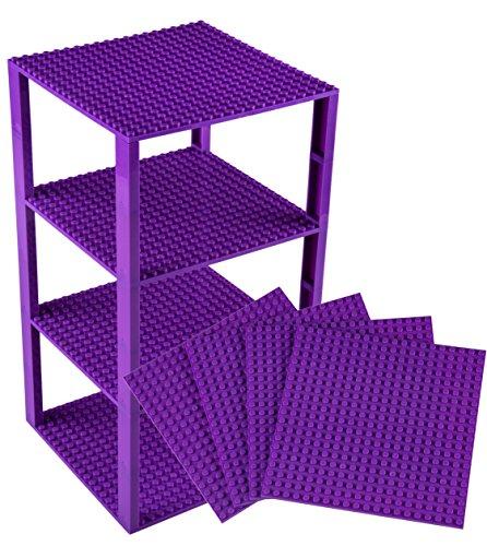 Stapelbare Premium-Bauplatten - inkl. neuen verbesserten 2x2-Bausteinen - kompatibel mit allen großen Marken - geeignet für Turm-Konstruktionen - Set aus 4 Platten - je 6