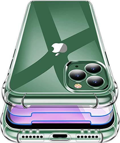 Garegce Cover Compatibile con iPhone 11 Pro Max con 2 Pezzi Vetro Temperato, Silicone Sottile Antiurto AntiGraffio Protettiva Custodia Compatibile con iPhone 11 Pro Max-6.5 Pollici-Trasparente