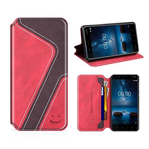 MOBESV Smiley Nokia 8 Hülle Leder, Nokia 8 Tasche Lederhülle/Wallet Hülle/Ledertasche Handyhülle/Schutzhülle mit Kartenfach für Nokia 8, Rot/Dunkel Violett
