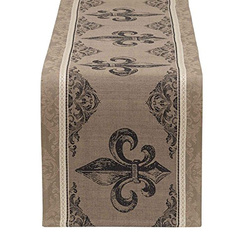 DII French Style Tabletop Collection, 14x72, Table Runner : Fleur de Lis