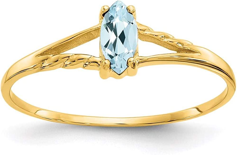 14k Yellow Gold Blue Aquamarine Birthstone Band Ring Size 7.00 March Marquise Fine Jewelry For Women Gifts For Her