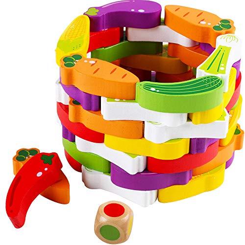 SXPC Légumes en Bois Empilé Jouet en Forme De Fruit Blocs de Construction Empilé Haute Formation Puzzle Enfance Éducation Mode 55 Pcs