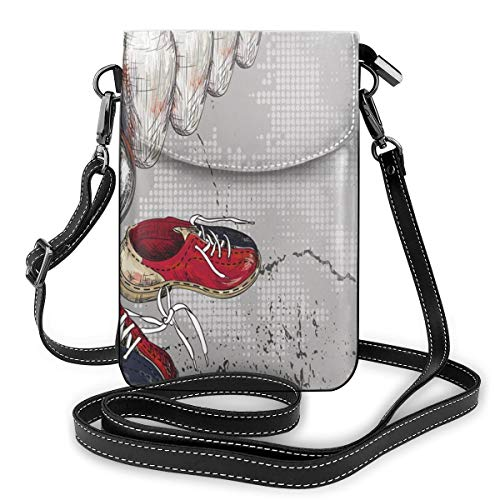 Women Mini Purse Crossbody of Cell Phone,Bowling Shoes Pins and Ball In Artistic Grunge Style Print