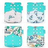 Wenosda 4PCS Pañales de tela para bebés Pañales de bolsillo Pañales reutilizables lavables Inserte el pañal de bolsillo todo en uno para la mayoría niños