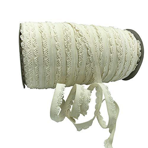 Colorful Picot Edge Stretch Lace Elastic Width 3/8'' Underwear Tape for Woman & Garment Accessory 5 Yards per Roll (Cream)