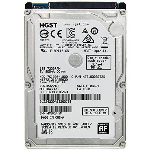 HGST Travelstar 7K1000 1TB interne Festplatte (7200rpm; SATA 6Gb/s; 32MB Cache; 6,3cm (2,5