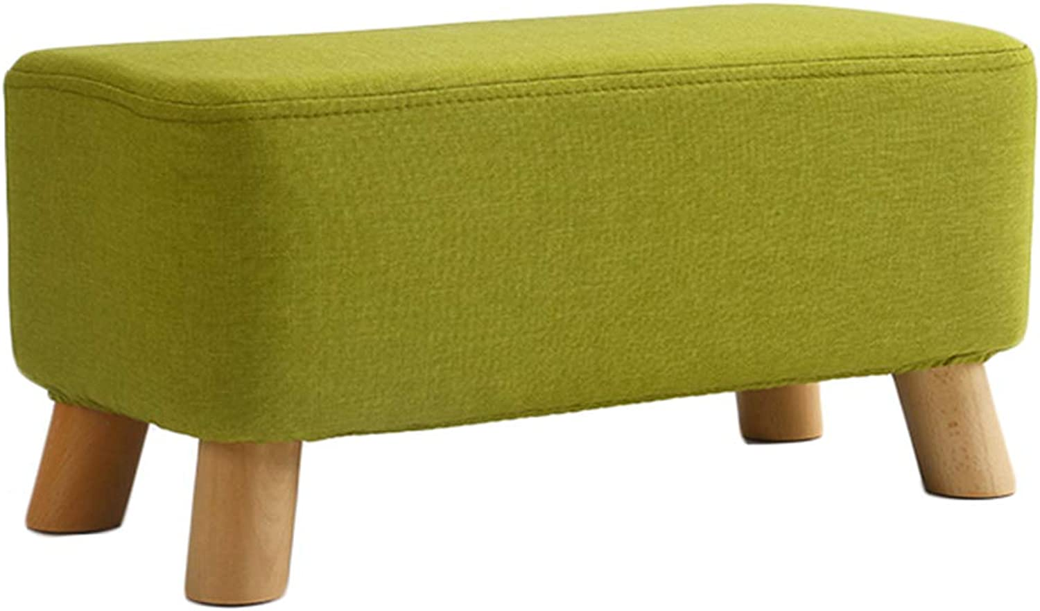 CAIJUN Footstool Multipurpose Solid Wood Frame Removable Seat Cover Non-Slip Whole Outfit, 4 colors, 2 Sizes (color   Green, Size   56x28x26cm)