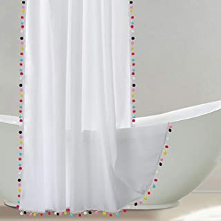 Uphome Shower Curtain, White Fabric Shower Curtain with Colorful Pom Pom Trims, Vintage Boho Chic Cloth Shower Curtains for Bathroom Showers, 72 x 72