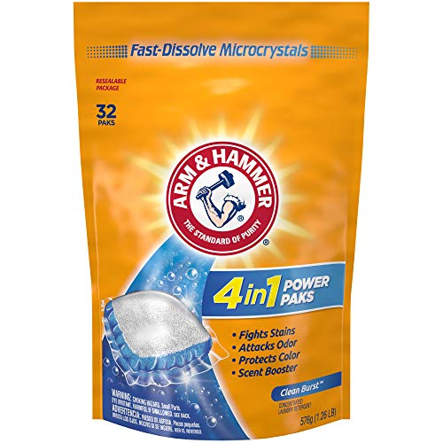 Arm & Hammer 4-in-1 Laundry Detergent Power Paks, 32 Count (Packaging may vary)