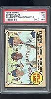 1968 Topps #490 Super Stars Mickey Mantle Willie Mays Harmon Killebrew PSA 3 Graded Baseball Card MLB