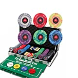 YUSDP Juego de 300 fichas de póker Caja de Almacenamiento de Aluminio, Material cerámico, Textura, fichas de póker de Casino 10 Gramos, Juguetes Ocio para Juegos de Blackjack