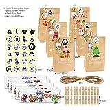 ARTFFEL Luz 24 Sets Feliz Navidad Adviento Calendario Bolsas de Regalo Santa Claus Snowman Kraft Papel Bag Navidad Party Decor Candy Cookie Embalaje Bolsas Seguridad (Color : Pattern3)