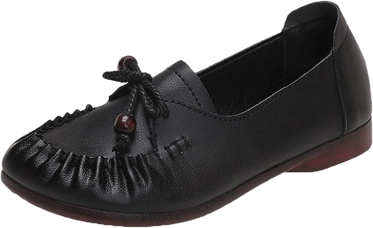 PMUYBHF Women's Leather Penny Loafers Excellence Shoes Casual Slip Driving safety