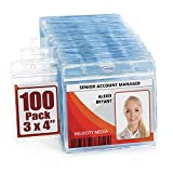MIFFLIN Large Horizontal ID Name Badge Holder (Clear, 3x4 Inches, 100 Pack), Waterproof and Resealable Plastic Card Holders