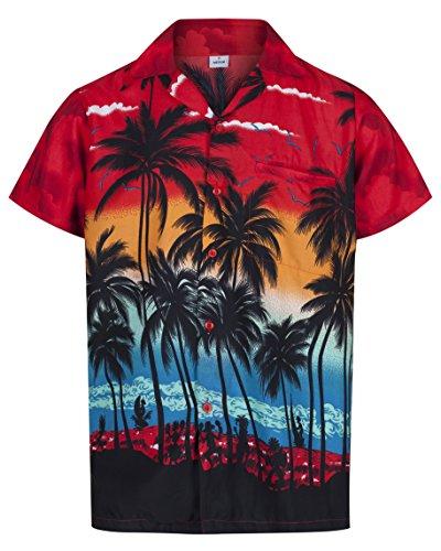 Hawaiiansk skjorta för män, kortärmad, svensexa, strand, semester, palmträd, fina kläder, Hawaii, Röd, 3XL