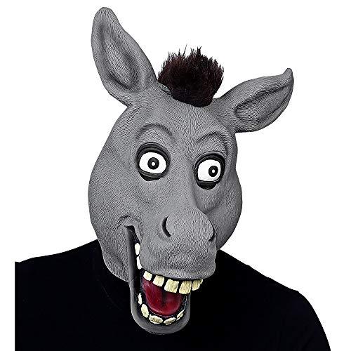 Widmann 03301 Ganzkopf Maske Esel mit Riesenaugen und Plüschhaaren, Unisex– Erwachsene, Grau