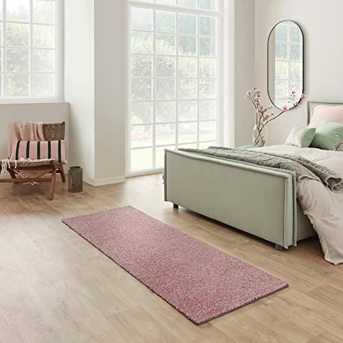 Carpet Studio Santa Fe Läufer Flur 67x180cm, Teppich Läufer für Schlafzimmer, Küche & Flur, Einfach zu Säubern, Weiche Oberfläche, Kurzflor - Rosa