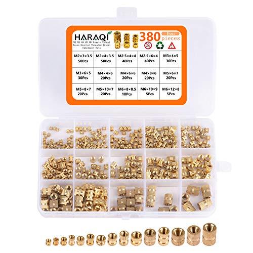 380 Stück Gewindeeinsatz M2 M2.5 M3 M4 M5 M6 Metrische Weibliche Thread Brass Knurled Threaded Insert Embedment Nuts assortment Kit für Kunststoffteile 3D Druckteile durch Ultraschall Warmeinbettung
