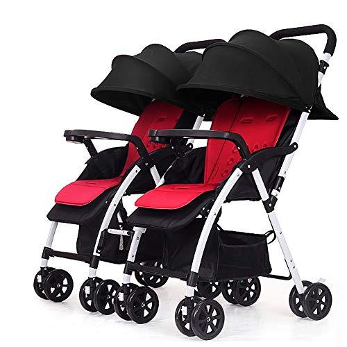 TY-Baby trolley Mmm @ Poussette jumeau, Chariot de bébé Pliable léger détachable de Double Chariot Infantile Chariot ( Color : Noir )
