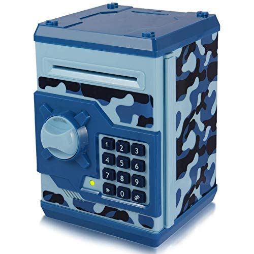 Yoego Kids Money Bank, Electronic Piggy Banks, Great Gift Toy for Kids Children, Auto Scroll Paper Money Saving Box Password Coin Bank,Perfect Toy Gifts for Boys Girls (Blue Camo)