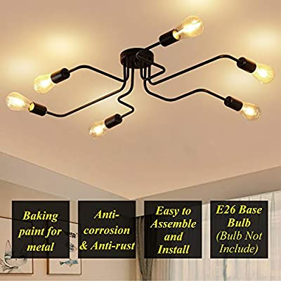 ZEEFO Flush Mount Ceiling Light Modern Art Vintage Sputnik Design Chandelier Metal Black Industrial Lighting Fixtures with 6 Lights E26 Bulb Base Suitable for Kitchen,Dining Room, Bedroom