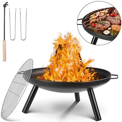 femor Feuerschale Ø 59 cm, Feuerstelle mit Grillrost & Griffen, Multifunktional Fire Pit für Heizung/BBQ, Garten Feuerkorb & Grill, für Camping Picknick Garten, 68x59x28.5cm