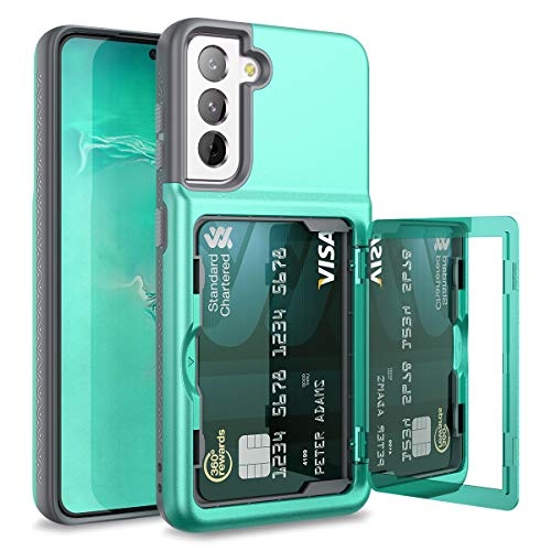 WeLoveCase for Samsung Galaxy S21 Wallet Case with Credit Card Holder & Hidden Mirror, Defender Protective Shockproof Heavy Duty Protection Phone Cover for Samsung Galaxy S21 5G, 6.2 inch 5G Mint
