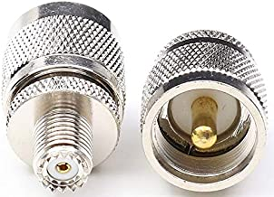 DHT Electronics RF coaxial Coax Adapter UHF Male PL259 PL-259 to Mini UHF Female Pack of 2