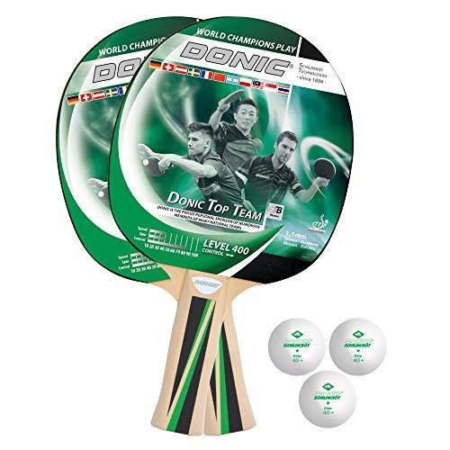 Donic-Schildkröt Tischtennis-Set Top Teams 400, 2 Schläger, 3 Bälle in guter 1* Qualität, in wertiger Tasche, sehr gute Freizeitqualität, komplette Ausstattung, 788495