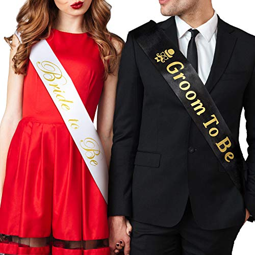Frienda 2 Pieces Groom and Bride to Be Sash Bachelorette Party Sash...