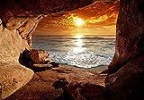 decomonkey Fototapete Meer Strand 350x256 cm Tapete Fototapeten Vlies Tapeten Vliestapete Wandtapete moderne Wand Schlafzimmer Wohnzimmer Sonnenuntergang Landschaft