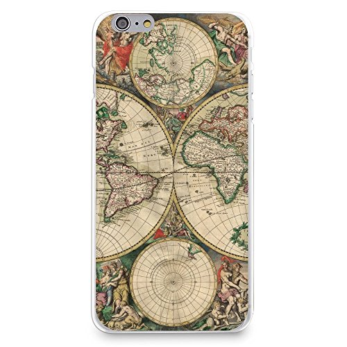 HelloGiftify iPhone 7 / iPhone 8 Case, Vintage Old World Map Pattern Soft Rubber TPU Back Cover for Apple iPhone 7 / iPhone 8 4.7' (Style 2)