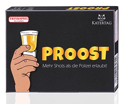 Katertag Trinkspiel - PROOST - Mehr Shots als die Polizei erlaubt - Partyspiel für Erwachsene ab 18 - Kartenspiel - Spiele Geschenk-Idee für Männer und Frauen - Party Zubehör zum Geburtstag