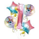 Globo digital con número 1, tamaño de 101,6 cm con forma de arco iris para decoraciones de fiesta de 1er cumpleaños con unicornio de aluminio de 45,7 cm y globo de estrella para niños y niñas