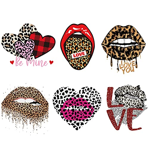 6 Pieces DIY Heat Transfer Iron On Patches Leopard Iron On Patches for Clothing Lips Iron On Decals Washable Iron Patches Iron Heart Love Stickers for DIY Clothing Bag Hat Craft Accessories