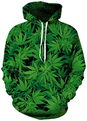 Bro Hoody Sweater Shirt 3D Realistic Printed Green Weeds Designer Cannabis Warm Fleece Hoodie Sweatshirts with Drawstring for Womens Mens Crew Neck Jersey Clothes 80's Fancy Tracksuits X-Large XL