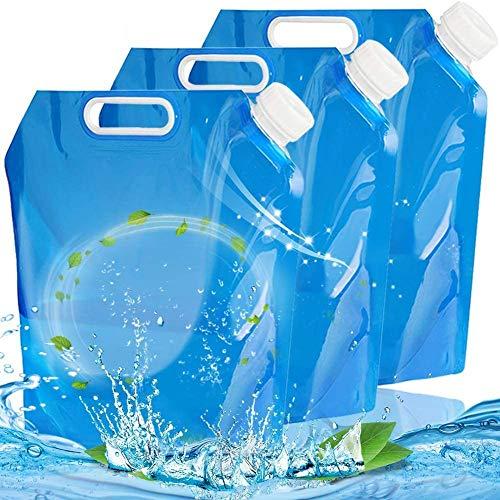 FANDE Bolsa de Agua Plegable, 3 Piezas Contenedores de Agua Plegables, Bolsa de Tanque Plegable para...