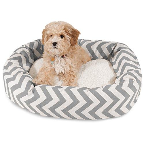 Majestic Pet Chevron Sherpa Bagel Dog Bed - Gray - 24u0022
