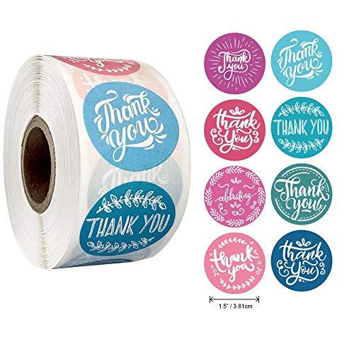 500Pcs / Rolle 8styles Danke Aufkleber für Siegeletiketten Runde Blumen mehrfarbige Etiketten Aufkleber handgefertigt Angebot Schreibwarenaufkleber
