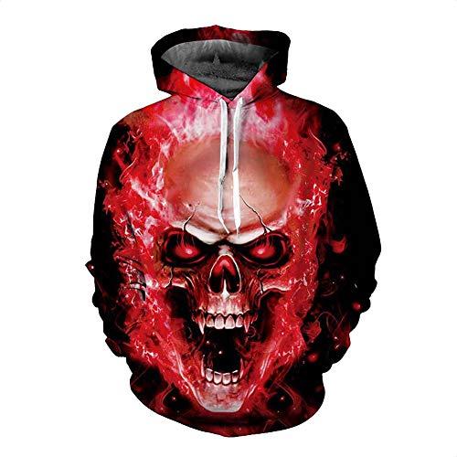 Sweat-Shirt_numéRique 3D Impression Flamme/CrâNe Pull De Rue De La Mode Pull à Capuche Rouge avec Cavalier De Poche Kangourou M XL 2XL