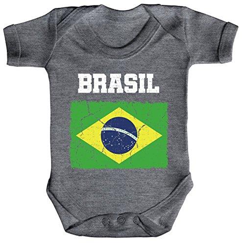 ShirtStreet Brazil Brasilien Fußball WM Fanfest Gruppen Fan Strampler Bio Baumwoll Baby Body kurzarm Jungen Mädchen Wappen Brasil, Größe: 12-18 Monate,Heather Grey Melange