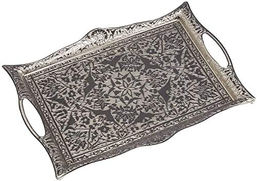 Quadratisches Tablett für Kaffee, Tee, Getränke, Türkische Ottomane Medium silber